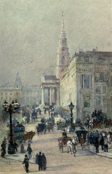 Familiar London Painted by Rose Barton - St Martin's-in-the-Fields (1904)