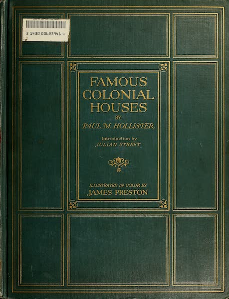 Famous Colonial Houses - Front Cover (1921)