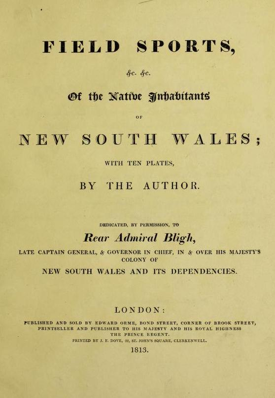Field Sports of the Native Inhabitants of New South Wales - Title Page (1813)
