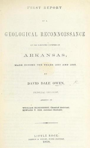 English - First Report of a Geological Reconnoissance of the Northern Counties of Arkansas