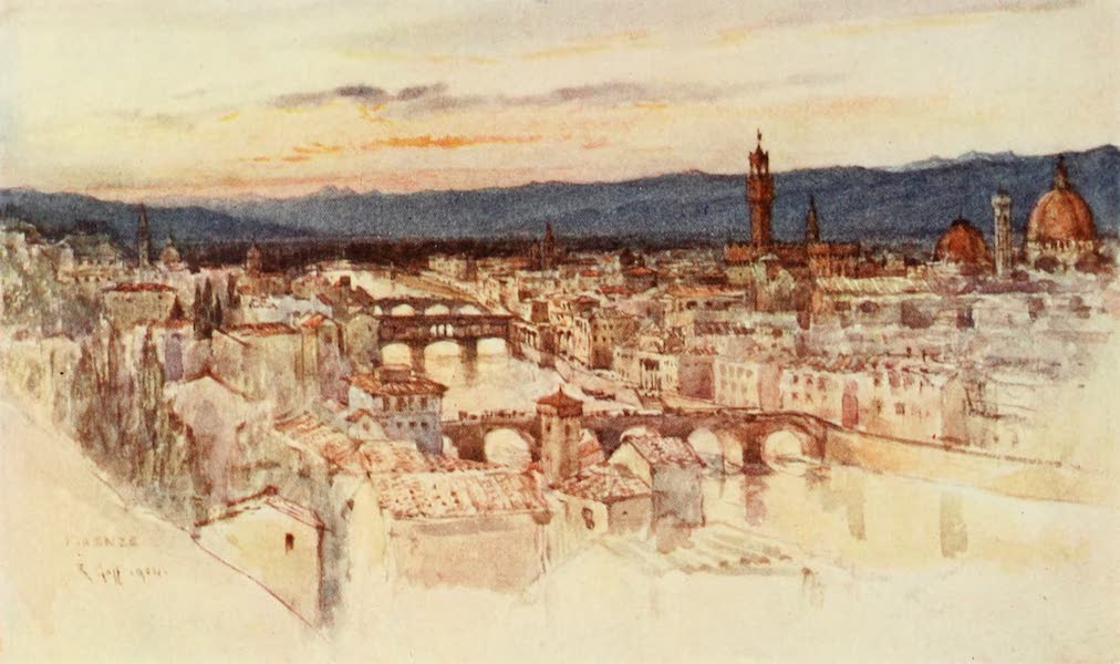 Florence & Some Tuscan Cities Painted and Described - The City of Florence from the Piazzale Michelangelo, San Miniato (1905)