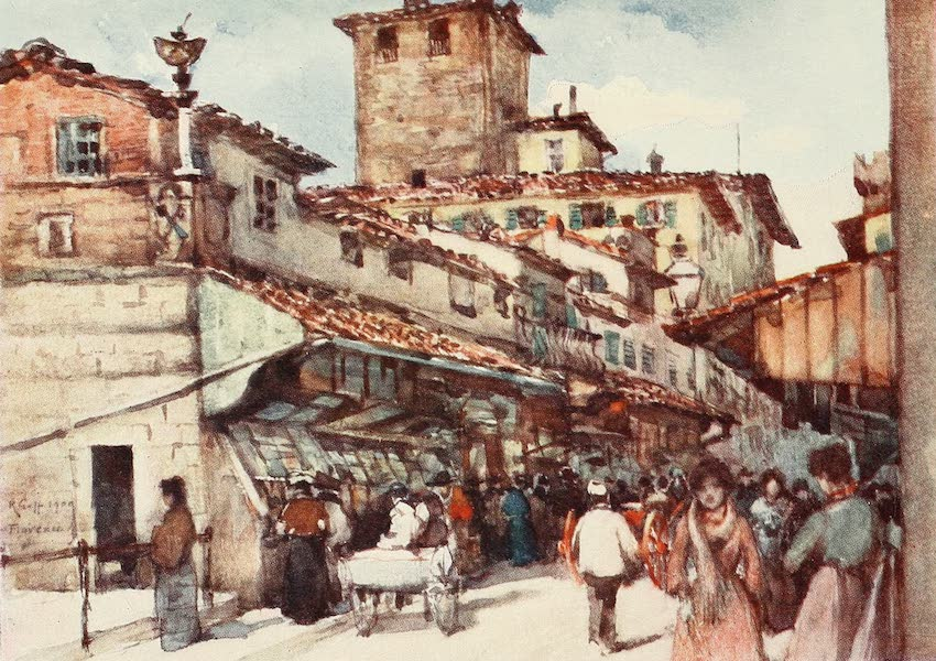 Florence & Some Tuscan Cities Painted and Described - A Study on the Ponte Vecchio (1905)