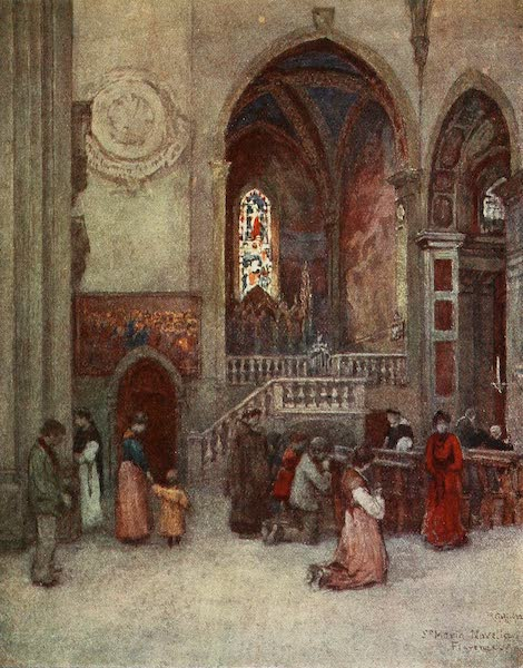 Florence & Some Tuscan Cities Painted and Described - Interior of the Church of Santa Maria Novella, with the Strozzi Chapel (1905)