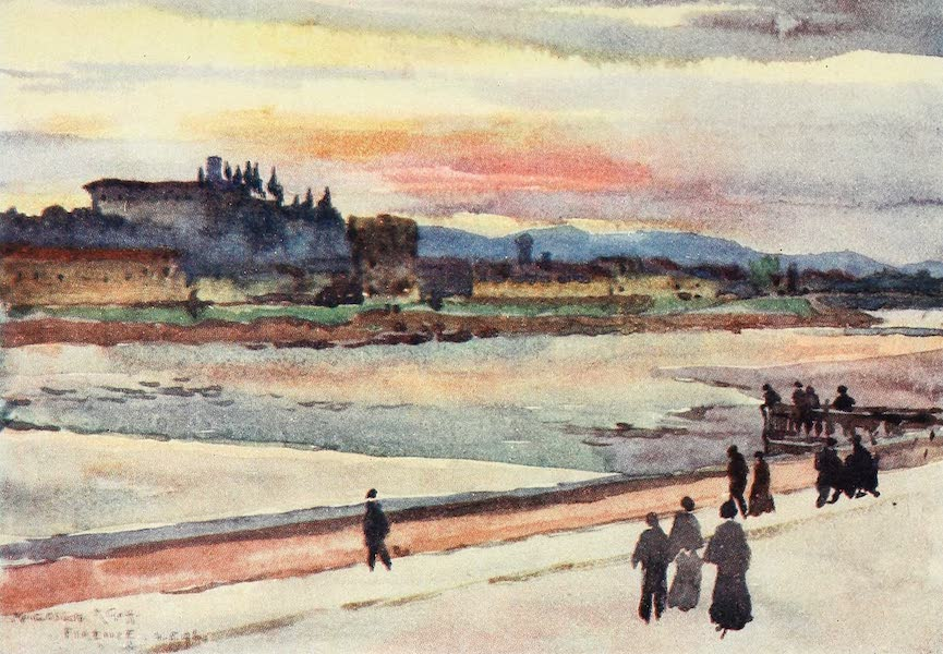 Florence & Some Tuscan Cities Painted and Described - Sunset over Monte Oliveto (1905)