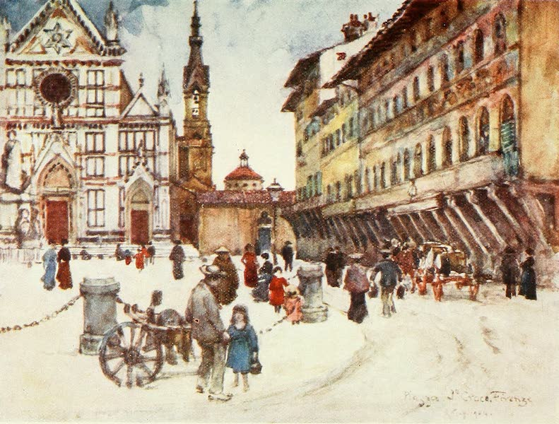 Florence & Some Tuscan Cities Painted and Described - Piazza Santa Croce (1905)