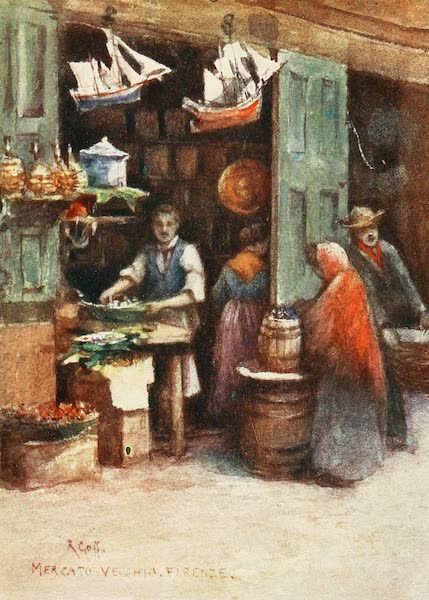 Florence & Some Tuscan Cities Painted and Described - A Cook's Shop in the Mercato Vecchio, before its demolition in 1884 (1905)
