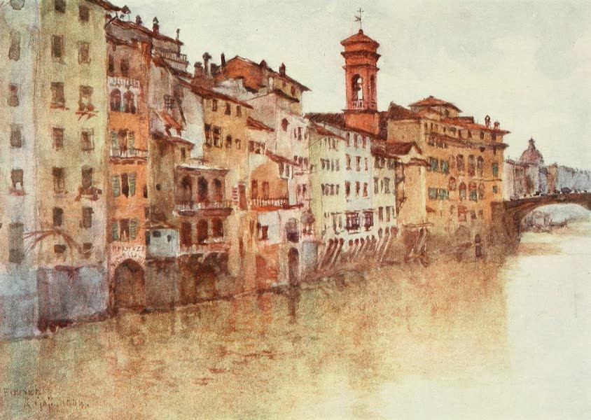 Florence & Some Tuscan Cities Painted and Described - A Study of the Old Houses in Borgo S. Jacopo, from Fiore the Arno, looking West (1905)