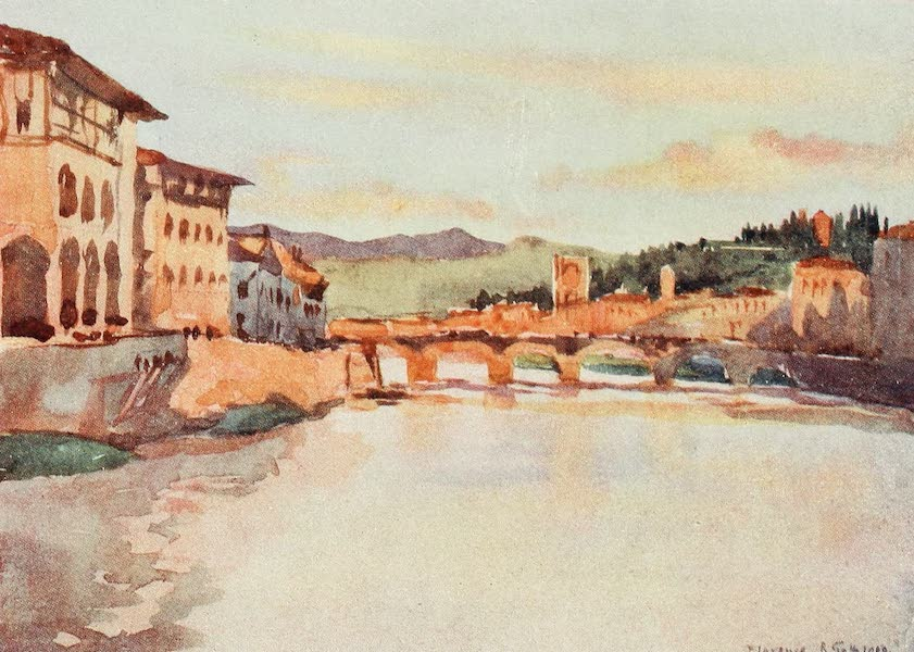 Florence & Some Tuscan Cities Painted and Described - View looking East from the Ponte Vecchio at Sunset, with the Hill of S. Miniato and the Ponte Alle Grazie (1905)