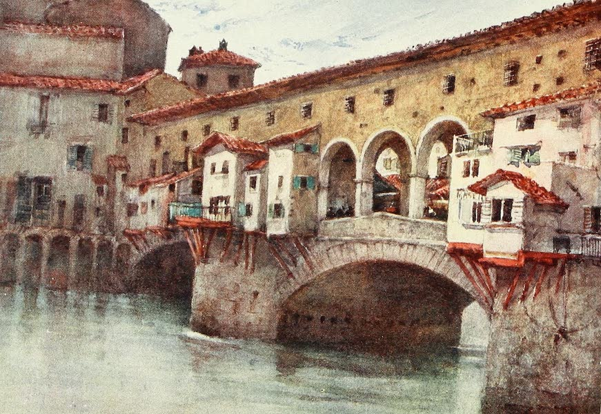 Florence & Some Tuscan Cities Painted and Described - Study, showing the East Side of the Ponte Vecchio, and the Old Houses of the Via de' Bardi (1905)