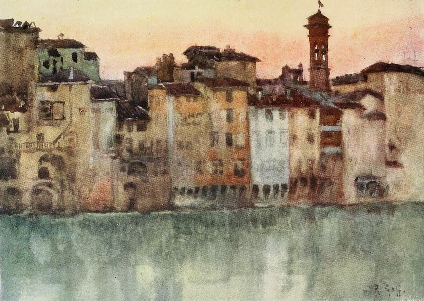 Florence & Some Tuscan Cities Painted and Described - Old Houses on the Left Bank of the Arno, looking West (1905)