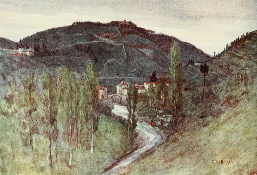 Florence & Some Tuscan Cities Painted and Described - The Valley of the Mugnone, below Fiesole, with Monte Rinaldini, and the Ponte Alia Badia (1905)