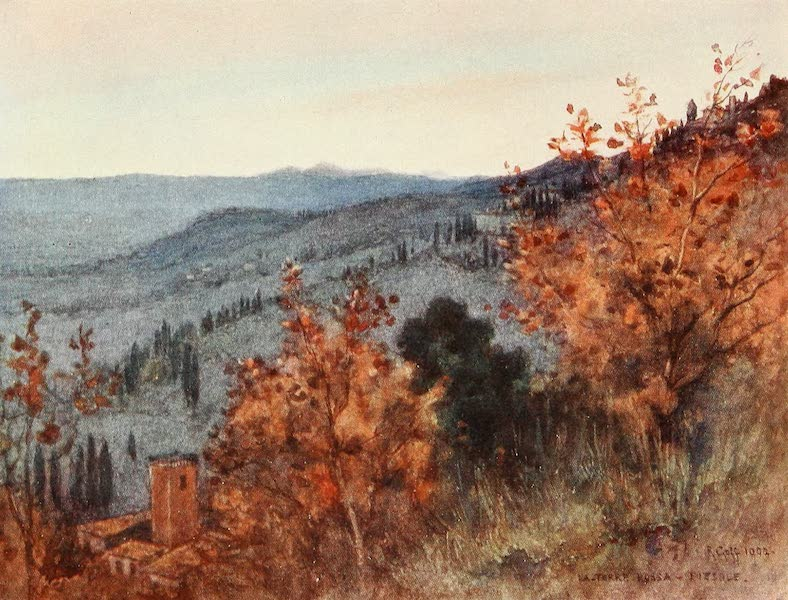 "Florence & Some Tuscan Cities Painted and Described - Mew over the Tuscan Hills, from the ""Torre Rossa,"" Fiesole (1905)"