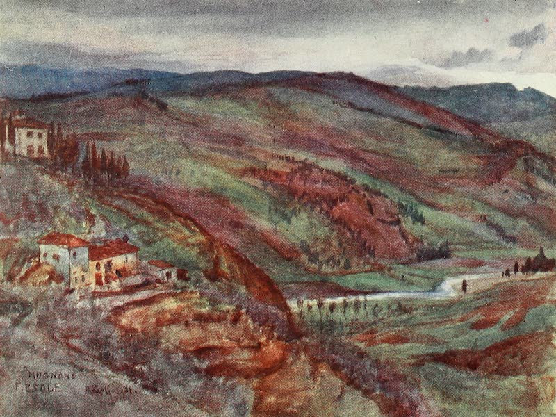 Florence & Some Tuscan Cities Painted and Described - The Valley of the Mugnone looking North to Monte Senario in the Distance (1905)