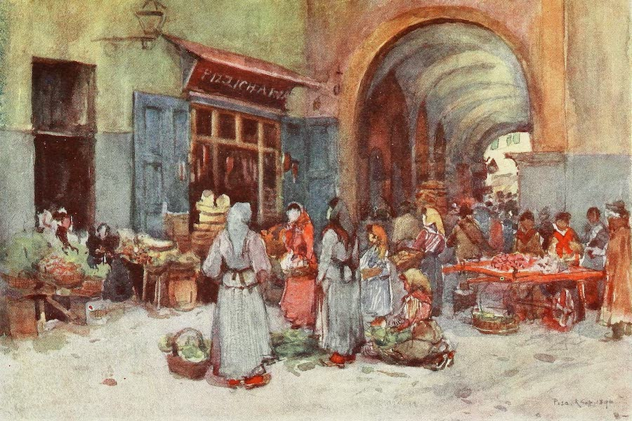 Florence & Some Tuscan Cities Painted and Described - Street Sellers, Pisa (1905)