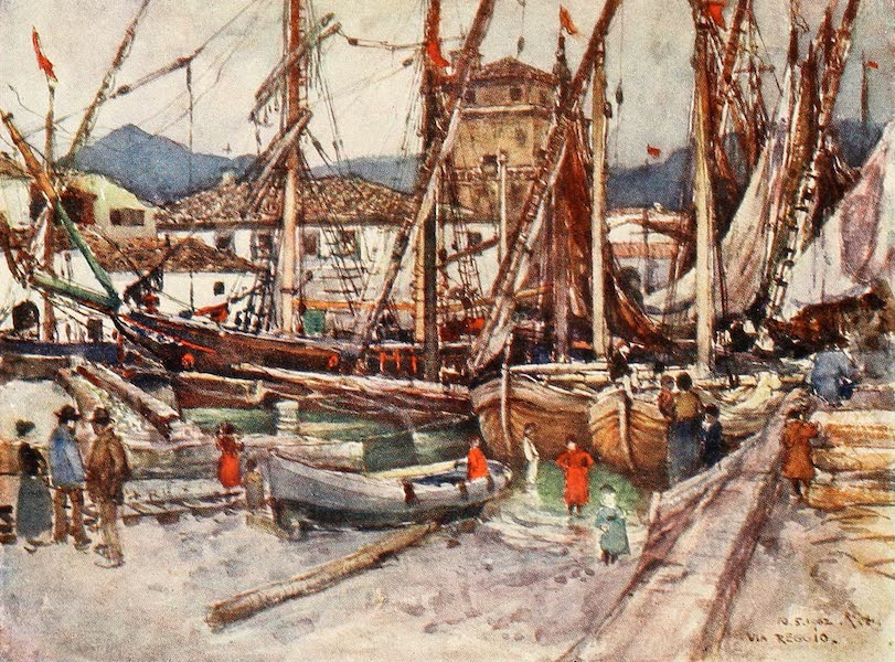 Florence & Some Tuscan Cities Painted and Described - Crowded Shipping in the Basin at Viareggio (1905)