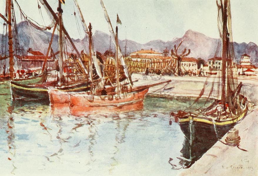 Florence & Some Tuscan Cities Painted and Described - Coasting Vessels in the Harbour at Viareggio (1905)