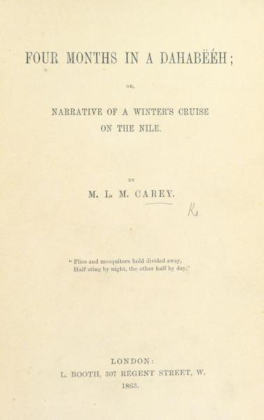 Four Months in a Dahabeeh - Title Page (1863)
