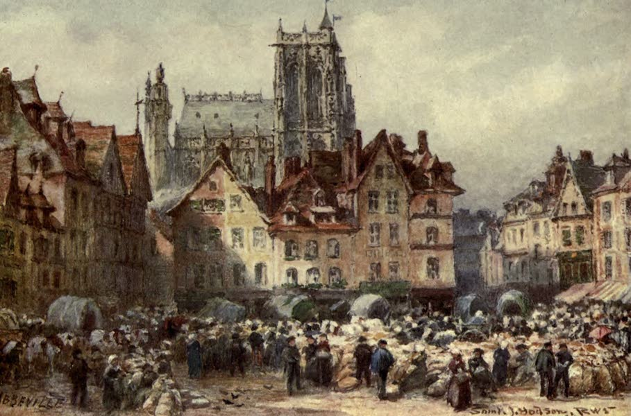 France by Gordon Home - The Market-Place and Cathedral at Abbeville (1914)