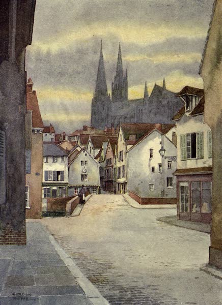 France by Gordon Home - The Cathedral and part of the Old City of Chartres (1914)