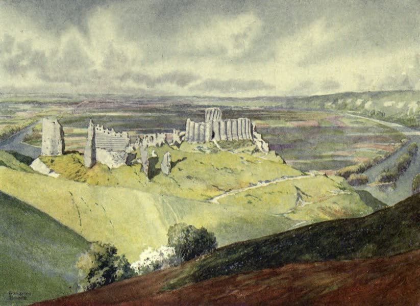 France by Gordon Home - Chateau Gaillard and a loop of the Seine (1914)
