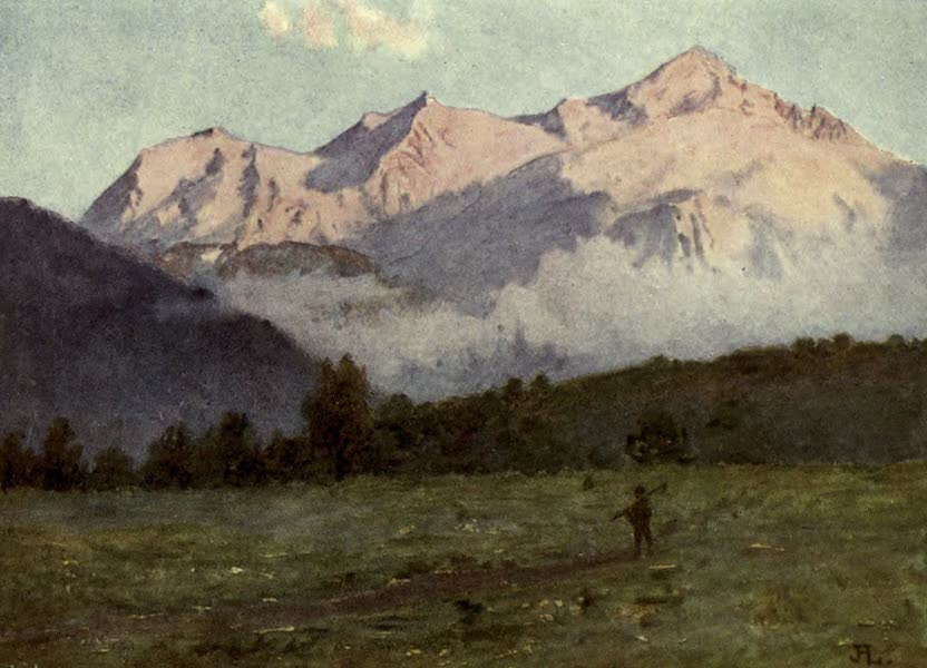 France by Gordon Home - Mont Blanc reflecting the sunset glow (1914)