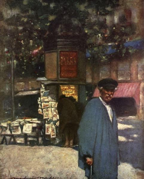 France by Gordon Home - The Kiosk on the Boulevard, Paris (1918)