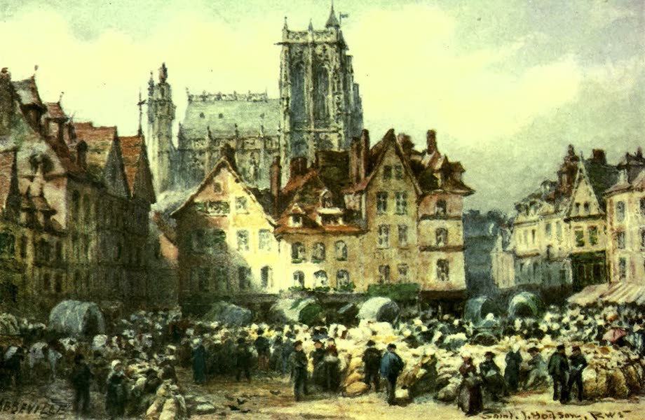 France by Gordon Home - The Market-Place and Cathedral at Abbeville (1918)