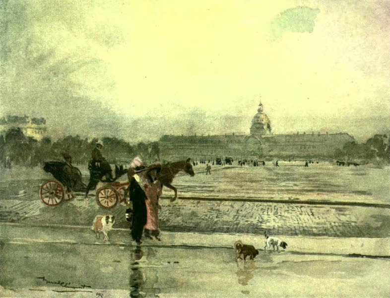 France by Gordon Home - Place des Invalides with Fiacre driving across (1918)