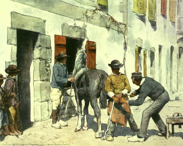 France by Gordon Home - Breton Peasants outside a Smithy (1918)