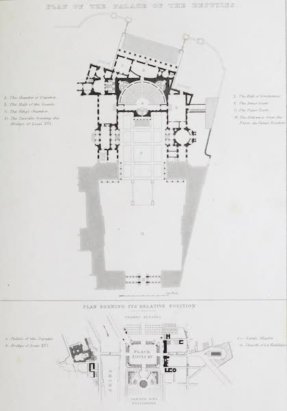 French Scenery - Plan of the Palace of the Deputies (1822)