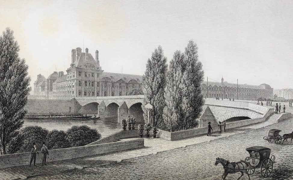 French Scenery - Pont Royal, and Palace of the Tuileries (1822)