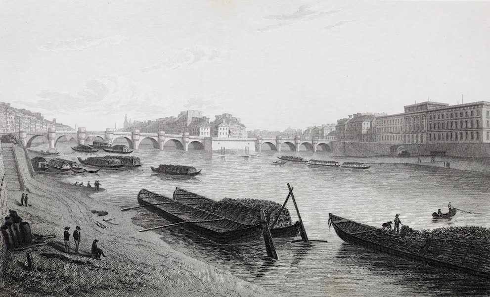 French Scenery - Pont Neuf, and Hotel de La Monnaie (1822)