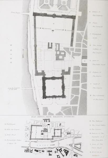 French Scenery - Plan of the Palaces of the Tuileries and Louvre (1822)
