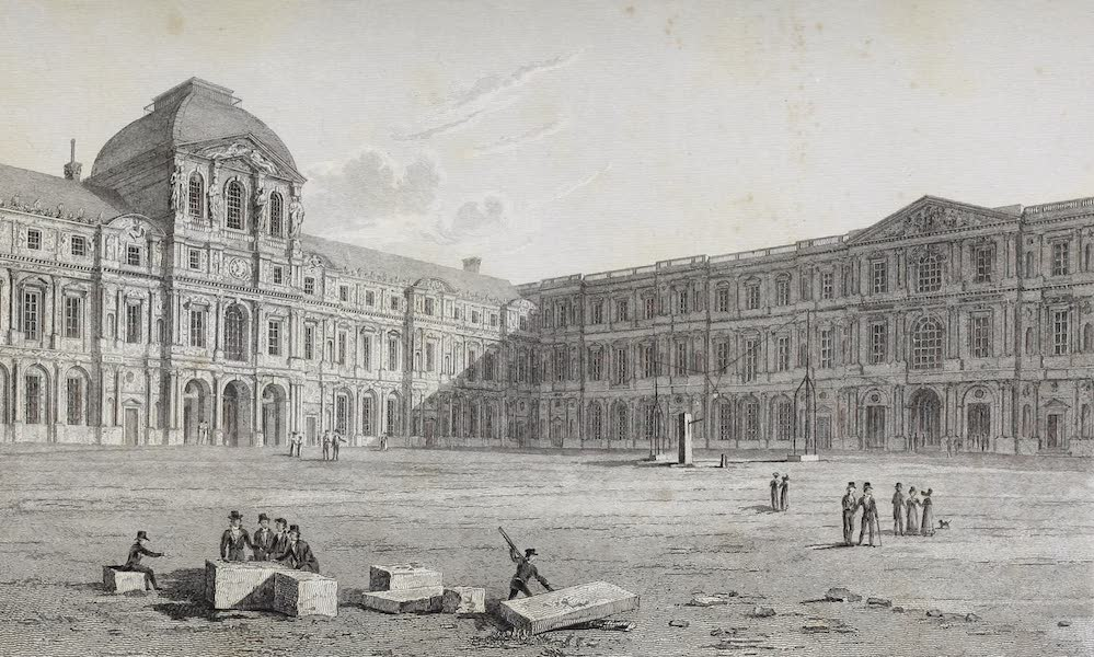French Scenery - Court of the Louvre (1822)