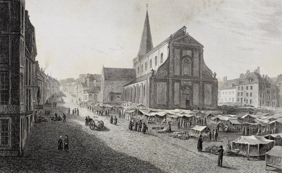 French Scenery - Church and Place of St. Nicholas at Boulogne-sur-mer (1822)