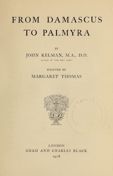 From Damascus to Palmyra - Title Page (1908)
