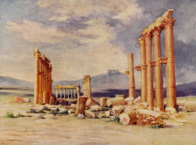 From Damascus to Palmyra - Colonnade, Palmyra, with Druze Castle in the Distance (1908)