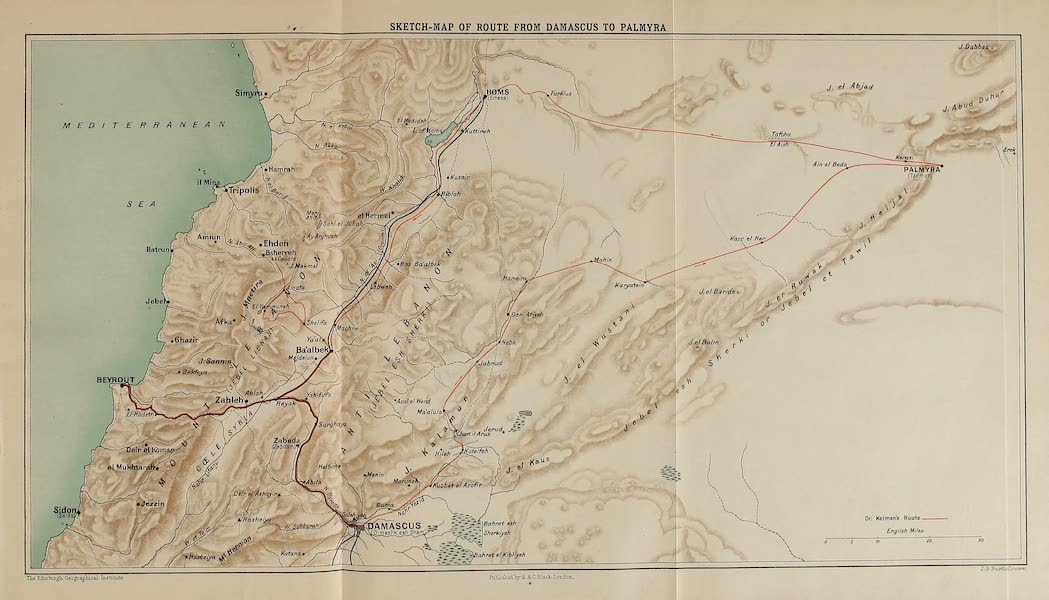 From Damascus to Palmyra - Sketch Map of Route from Damascus to Palmyra (1908)