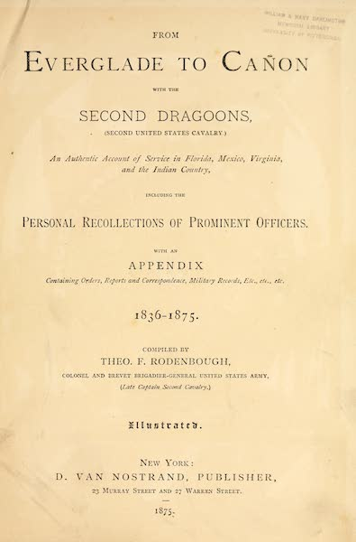 From Everglade to Canon with the Second Dragoons - Title Page (1875)