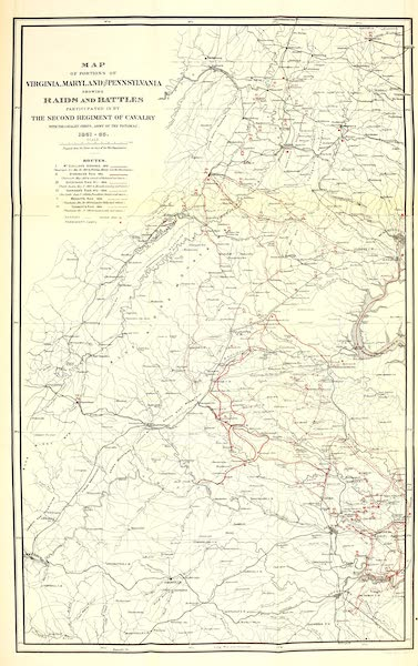 From Everglade to Canon with the Second Dragoons - Map of Raids and Battle by the Second Regiment of Cavalry (1875)