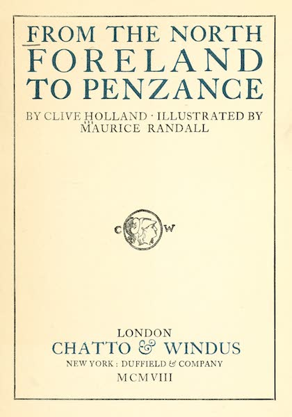 From the North Foreland to Penzance - Title Page (1908)