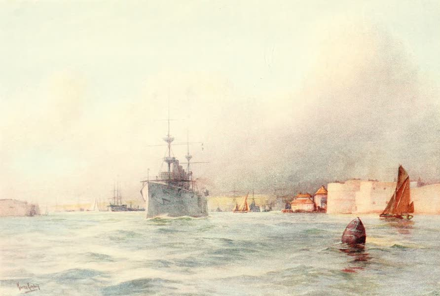 From the North Foreland to Penzance - Portsmouth: Entrance to Harbour (1908)
