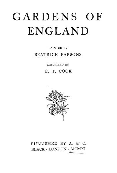 Gardens of England, Painted and Described - Title Page (1911)
