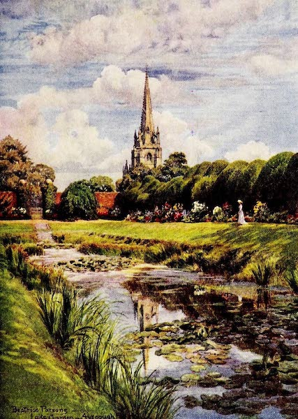 Gardens of England, Painted and Described - Spalding Parish Church, from the Lake Garden, Ayscough Fee Hall (1911)