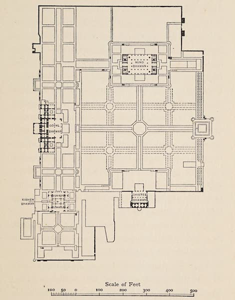 Gardens of the Great Mughals - Plan of the Garden-Palace of Deeg (1913)