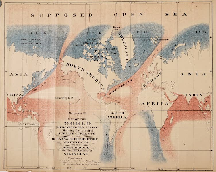Gateways to the Pole - Map of the World Showing the Principal Surface Currents of the Ocean (1869)