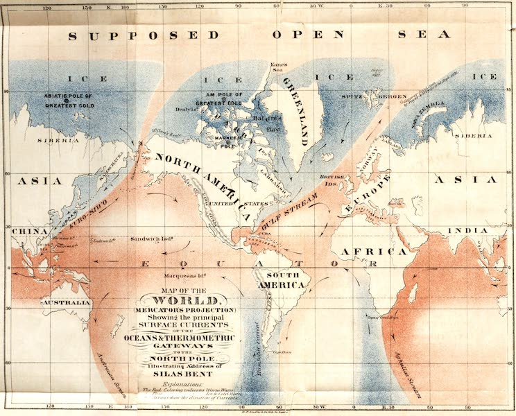 Gateways to the Pole - Map of the World Showing the Principal Surface Currents of the Ocean (1872)