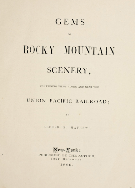 Gems of Rocky Mountain Scenery - Title Page (1869)