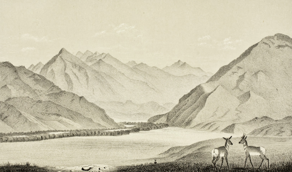 Gems of Rocky Mountain Scenery - Montana – Exit of the Yellowstone from the Mountains (1869)