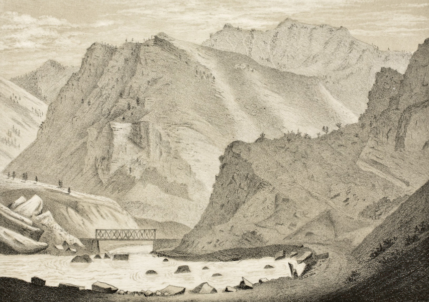 Gems of Rocky Mountain Scenery - Weber Canyon - Looking Down (1869)
